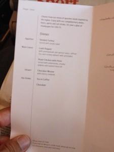 Jídelníček u Emirates